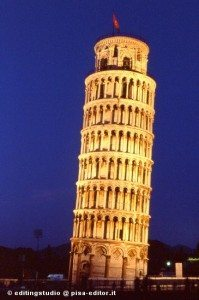 the Leaning Tower of Pisa, Italy at night
