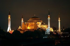 Museum of Hagia Sophia in Turkey by night