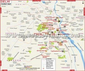 New Delhi,touris, map