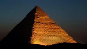 Pyramids of Egypt at night