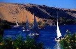 Feluccas moored on the Nile, Aswan