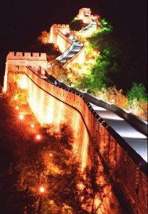 Great Wall of China in night
