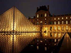 Louvre Museum in Paris at night