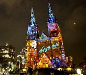 Church of the Virgin and martyr Marina Australia at night
