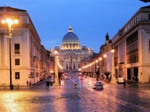 the Church of St. Peter (Vatican) at night
