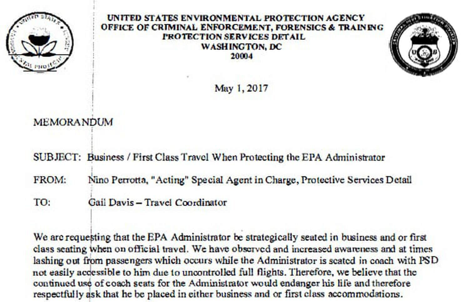 Photo of Obtained EPA memo shows argument for Pruitt's first-class travel
